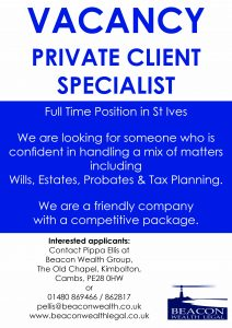 Vacancy for Private Client Specialist